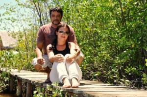 Luís Sucupira e Jamile Souza em Praia de Ponta Grossa. Foto: Andrea Muhlert.
