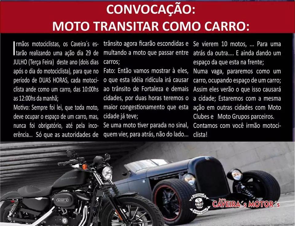 Ceará: Motociclistas de Fortaleza congestionam trânsito seguindo a lei.