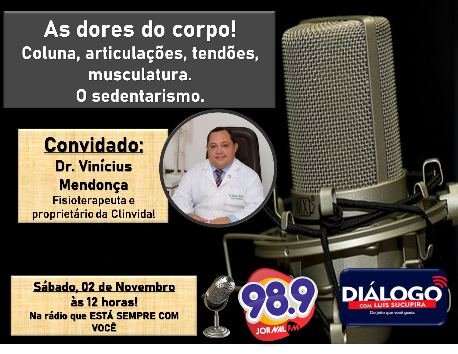PODCAST Diálogo – As dores do corpo – Fisioterapia – 02/11/2019- Jornal FM PODCAST Diálogo – As dores do corpo – Fisioterapia – 02/11/2019- Jornal FM